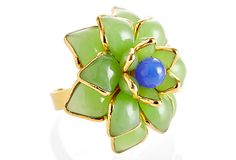 Designer, Mark Leslie Chin (MWLC) collection -Zinnia Flower Ring, Lime & Blue-One Kings Lane