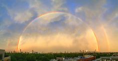 7/13/16 Chicago had a bout of heavy rain storms yesterday evening and when things started to clear the sky began to glow bright yellow. For a few fleeting moments a pair of rainbows emerged, captured here by Mike Eisenberg who seemed to be at the perfect vantage point.