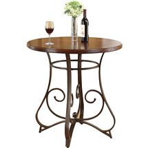 Walmart: Tavio Pub Height Dining Table with Wood Top and Metal Scrolled Legs, Cherry