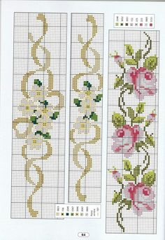 Cross stitch - flowers: California poppies (free pattern - chart - part C) Cross Stitch Bookmarks, Cross Stitch Rose, Cross Stitch Borders, Cross Stitch Flowers, Cross Stitch Charts, Cross Stitch Designs, Cross Stitching, Cross Stitch Embroidery, Embroidery Patterns