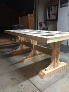 Table made from a French door.