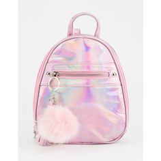 Hologram Mini Backpack ($25) ❤ liked on Polyvore featuring bags, backpacks, mini bag, pink mini backpack, iridescent backpack, rucksack bags and day pack backpack