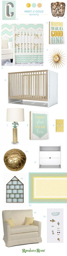 LOVE! Mint and gold nursery design inspiration from Rosenberry Rooms. | VeryRosenberry.com
