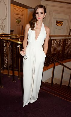 Emma WatsonIn a Misha Nonoo jumpsuit with an Anya Hindmarch clutch at the British Style Awards in London.