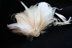 wedding feather hair clips | Fascinator, Bridal, Feather, Head piece, Hair clip, Gold and Ivory ...