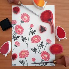 The tools that go into making my new, limited edition, peony art print 💐