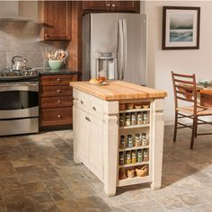 Jeffrey Alexander Loft Kitchen Island with Hard Maple Edge Grain Butcher Block Top | KitchenSource.com