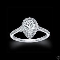 1.75 CT PEAR SHAPE HALO DIAMOND ENGAGEMENT BRIDAL RING