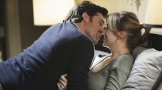 Derek Shepherd and Meredith Grey on Grey's Anatomy.