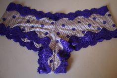 Victoria's Secret Women's Panties Cheeky Satin Purple Polka Dot Lace Medium NWT  #VictoriasSecret #Cheeky