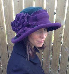 Edwardian fleece hat- Ladies Polar Fleece Suffragette Hat - Wide Brim -forest…