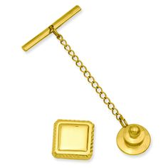 Gold-plated Square Tie Tack KW579