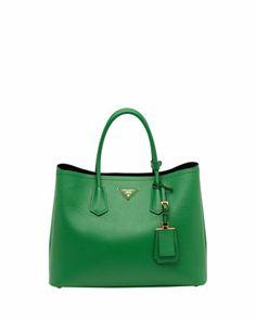 Saffiano Front-Pocket Tote Bag, White (Talco) by Prada at Bergdorf ...