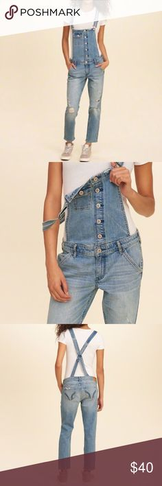 Hollister Co. Jean Overalls Only worn once! Soo cute! Hollister Jeans Overalls