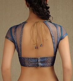 Trapezoid back, sheer with strips of fabric