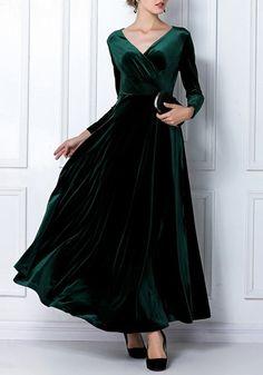 Dark Green Plain V-neck Long Sleeve High Waisted Elegant Vintage Maxi Dress