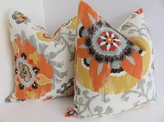 Outdoor/Indoor Pillows  Orange Yellow Outdoor Pillows  Grey Ivory Pillows  Outdoor  Pillow Covers  Pillows  Pillow Covers  Outdoor Pillow