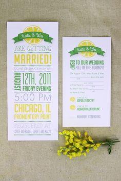Hochzeitseinladungen zitronengelb