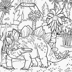Dinosaur In Jungles Coloring Page Dinosaur Coloring