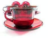 Ruby Red Coffee Cup and Saucer, Arcoroc France, Glass Red Coffee Mugs, Tea Cup and Saucer