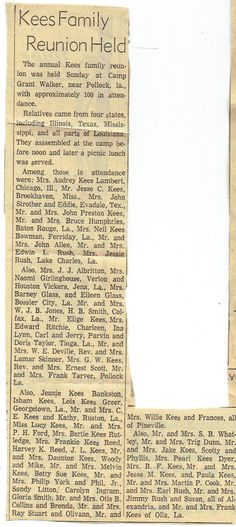 Kees Family Reunion in Pineville, LA newspaper article