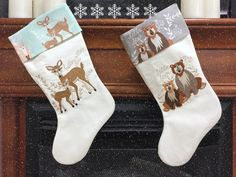 """How to make a Christmas Stocking! Made using """"Hello Bear"""" fabric designed by her daughter!"""