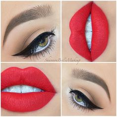 Make-up ideas for red lips 9 - do it yourself - Red lip makeup ideas 9 . - Make-up ideas for red lips 9 – do it yourself – red lip makeup ideas 9 – - Makeup Goals, Makeup Inspo, Makeup Inspiration, Makeup Tips, Makeup Ideas, Beauty Makeup, Hair Beauty, Makeup Trends, Prom Makeup