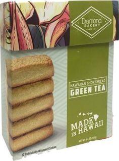 Diamond Bakery Hawaiian Shortbread Cookies Matcha Green Tea Hawaiian Cookies, Matcha Green Tea, Shortbread Cookies, Gourmet Recipes, Bakery, Diamond, Food, Essen, Diamonds