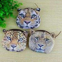 This product is a exquisite tiger lion leopard head zipper case coin wallet purse makeup bag, which