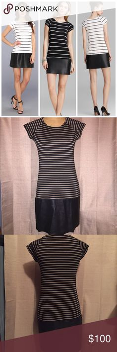 NWOT Bailey 44 striped jersey dress NWOT Bailey 44 striped jersey dress in brown/tan. Lined. Super soft/sleek jersey material. Faux leather skirt. Anthropologie Dresses