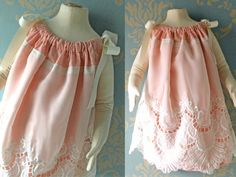 12-18 month size Refashioned Vintage Pillowcase Dress Cream Lace and Coral Baby Dress Toddler Girl Dress Easter Wedding Photo Session Dress