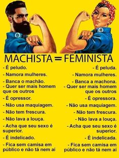 A pessoa que fez esta comparação ilustrada. Gente que não entende o feminismo!