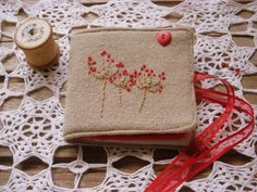 needle case hand embroidery  needle book  by itsaMessyNest on Etsy, £18.00