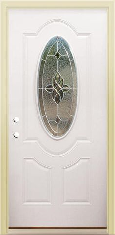 Mastercraft® MA 930 Primed Steel 3/4 Oval Zinc Prehung Exterior Door