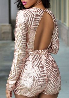 Black Gold Sequin Plunging Neckline Backless Long Sleeve Sexy Short Jumpsuit - Shorts - Bottoms
