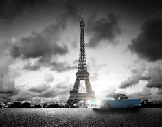 Eiffel Tower in black & white by Photocreo Michal Bednarek on @creativemarket