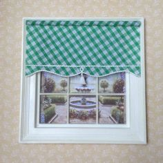 dolls house miniature blind,dollhouse shade,12th scale,Lundby 16th green gingham House Blinds, Free Printable Art, Mini Me, Dollhouse Miniatures, Gingham, Scale, The Unit, Windows, Dolls