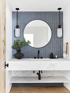 How to Design a Modern, Dramatic Powder Room The First Mountain House Bathroom Reveal: Our Quiet Drama Powder Bath Bad Inspiration, Bathroom Inspiration, Modern Bathroom Design, Bathroom Interior Design, Minimal Bathroom, Bath Design, Tile Design, Restroom Design, Neutral Bathroom