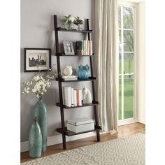 Briarwood Home Decor Espresso Finish Wood Leaning Bookcase, Brown