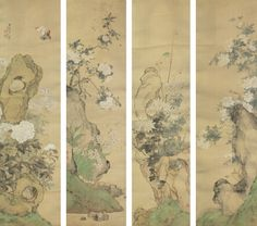 Flowers and Insects of the Four Seasons, 1890, Ju Lian ink and color on silk, set of four hanging scrolls