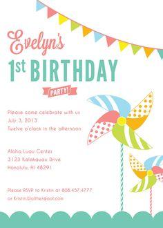 Custom Printable Pinwheel Party Birthday by MidoriGraphics on Etsy
