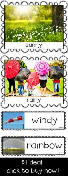 "Set of 10 weather photo flashcards and headers designed to support classroom teaching. They can be used for wall displays, vocabulary development activities, or as a stimulus for discussions such as, ""How's the weather today...? / What have you learned about....?""  Suitable for Pre-First Grade $"