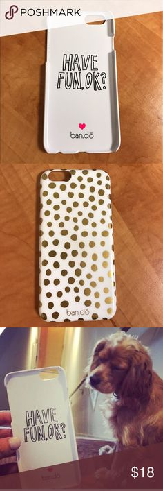 BAN.DO iPhone 6/6s Phone Cover White & Gold Dots BAN.DO iPhone 6 and 6s Cell Phone Cover with White and Gold Party Dots. I only used for a little bit and now have the 7 plus. I'm great condition, slight scratch on the exterior due to normal use (happens to every phone case). 2nd photo shows this (barely noticeable). I love this phone case so much! It's adorable and I always received so many compliments. I seriously would get happy just looking at my phone when this case was on! ban.do…