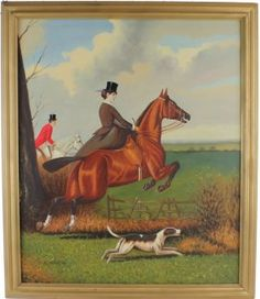 English Fox Hunt Scene - Oil on Canvas - K. Kurtz
