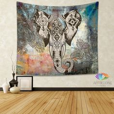 "Looking for that special piece of home décor to transform your room from ordinary to extraordinary? A tapestry is so much more than a simple home décor item; it is a work of art. Dress up your wall, bed, chair or use it on the go. This unique piece of ethnic art "" Ethnic Indian style elephant head tapestry on a grunge painted wall texture background with ethnic paisley design elements "" can be used in different ways as tapestry, wall hanging, Bedspread, Bed Cover, Table Cloth, Sofa cover and…"