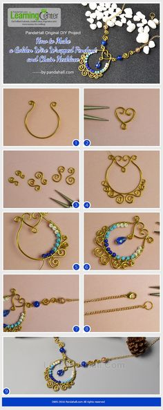 PandaHall Original DIY - How to Make a Golden Wire Wrapped Pendant and Chain Necklace from LC.Pandahall.com