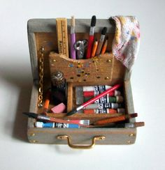 Miniature Artist Paint Box (1 inch dollhouse scale). $45.00, via Etsy.