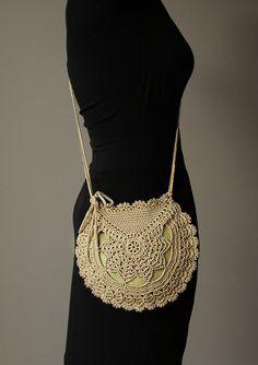 Crochet Shoulder Bag Vintage style Lightweight Olive green Crossover Adjustable straps Inspired by vintage doilies pattern