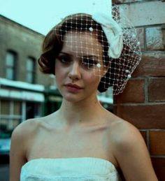 1950s Bridal HeadpieceSilk Bow Hat and Birdcage veil by AgnesHart, $205.00