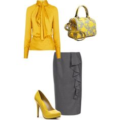 """""""Gray & Yellow Class"""" by sarahliz804 on Polyvore"""